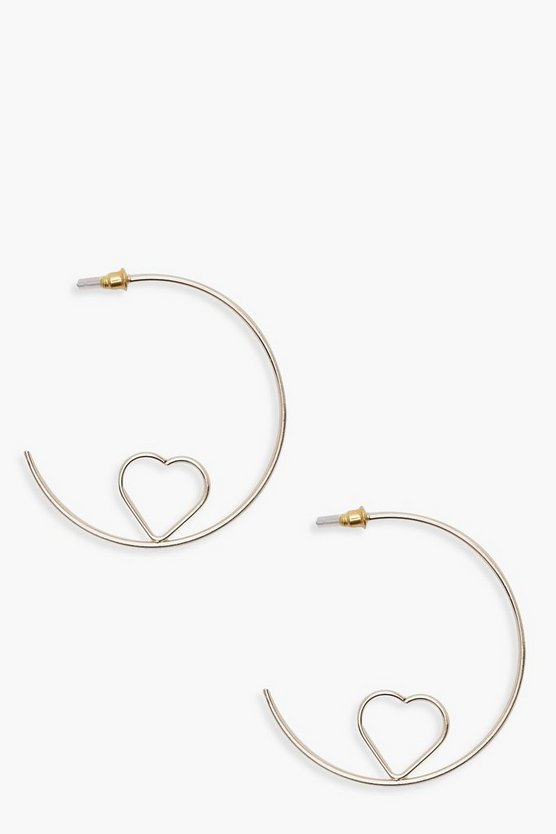 Hope Heart Detail Hoops