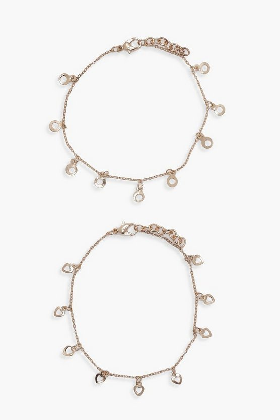 Lily Charm Chain Bracelet 2 Pack