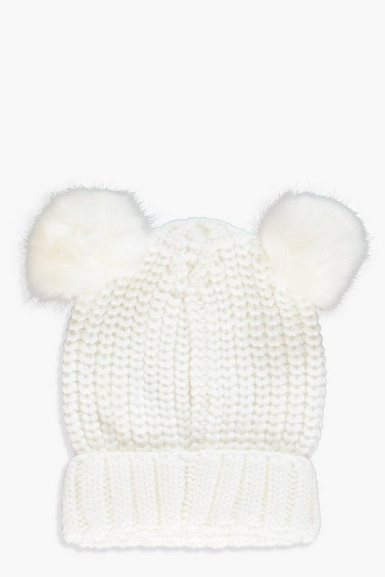 Kate Double Faux Fur Pom Ribbed Beanie