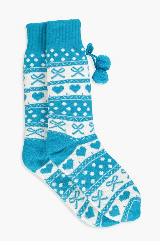 Laura Christmas Printed Pom Slipper Socks