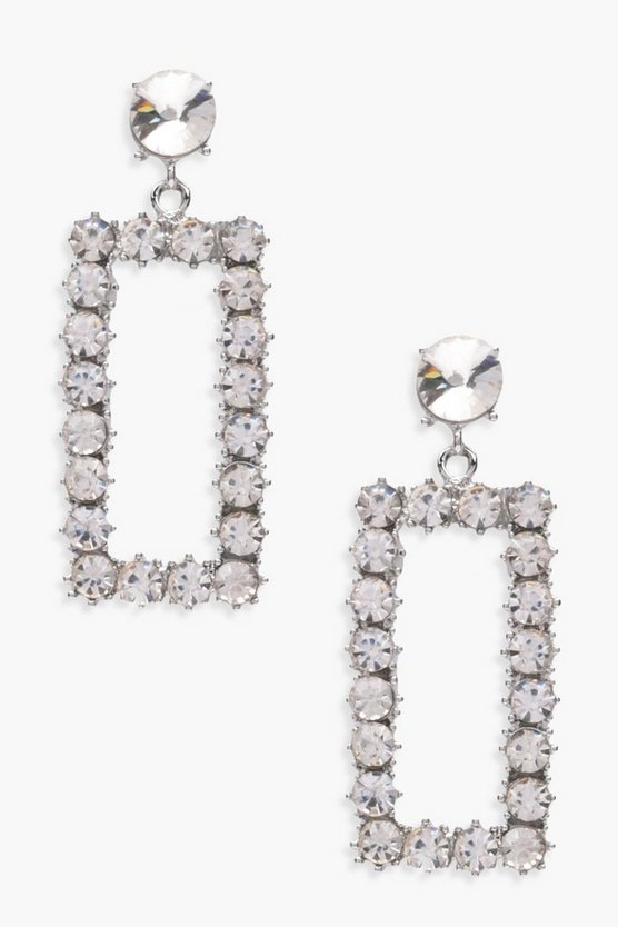 Laura Diamante Rectangle Hoop Earrings