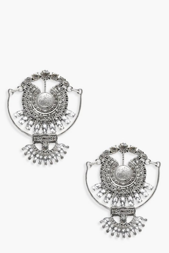 Hannah Ethnic Diamante Statement Earrings