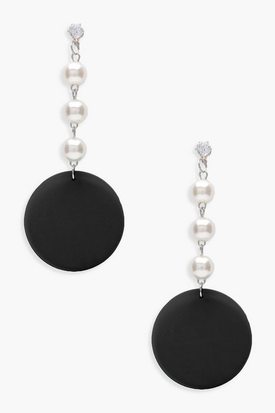 Lucy Disc And Pearl Drop Earrings