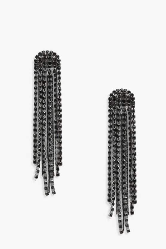 Hollie Diamante Statement Tassel Earrings