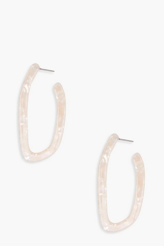 Lucia Marble Effect Distorted Hoop Earrings