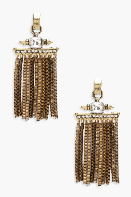 Lucia Chain Metal Tassel Statement Earrings