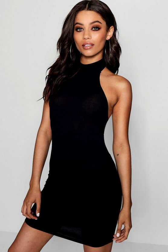 High Neck Jersey Bodycon Dress