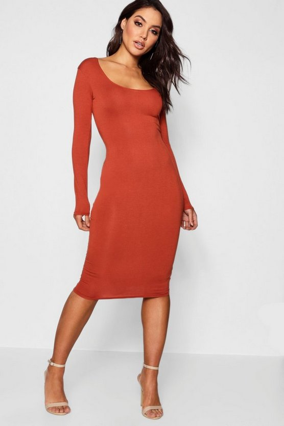 Square Neck Long Sleeved Bodycon Dress