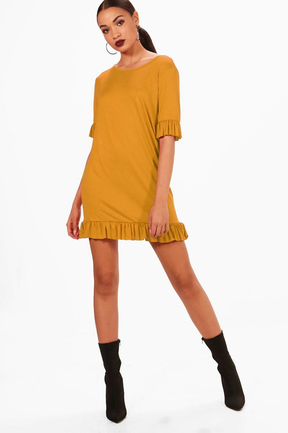 Avah Ruffle Detail Jersey Shift Dress