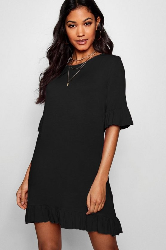 Avah Ruffle Detail Jersey Shift Dress