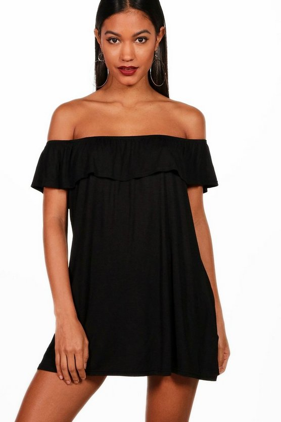 Liberty Off The Shoulder Jersey Swing Dress