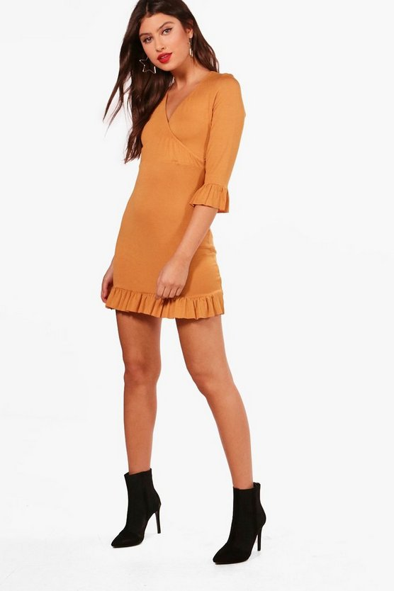 Yazmin Ruffle Detail Jersey Tea Dress