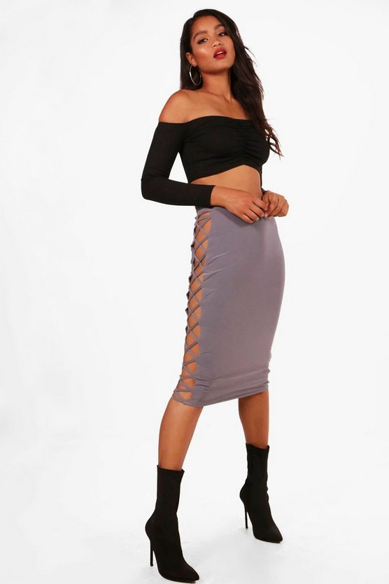 Dawn Slinky Extreme Ladder Side Midi Skirt