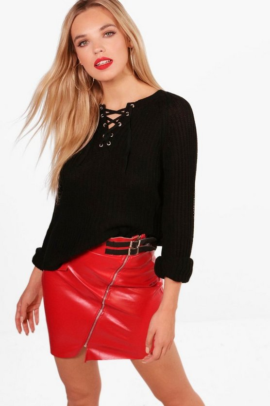 Lace Up Rib Knitted Jumper