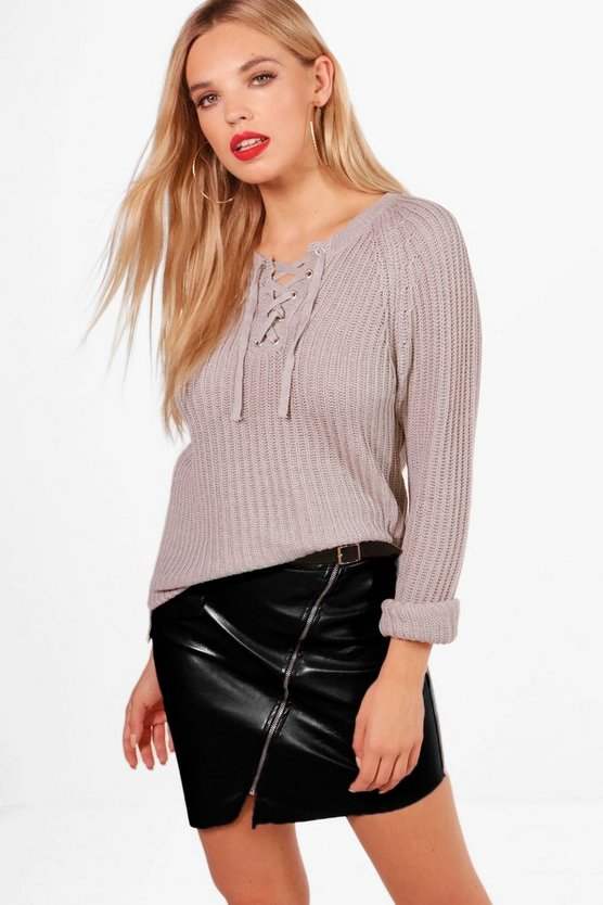 Hallie Lace Up Rib Knitted Jumper