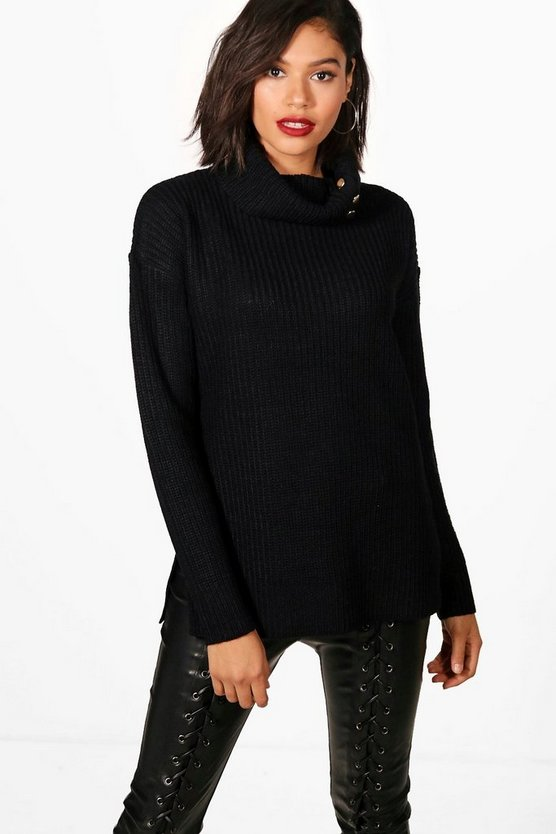 Darcy Roll Neck Slouchy Button Detail Jumper