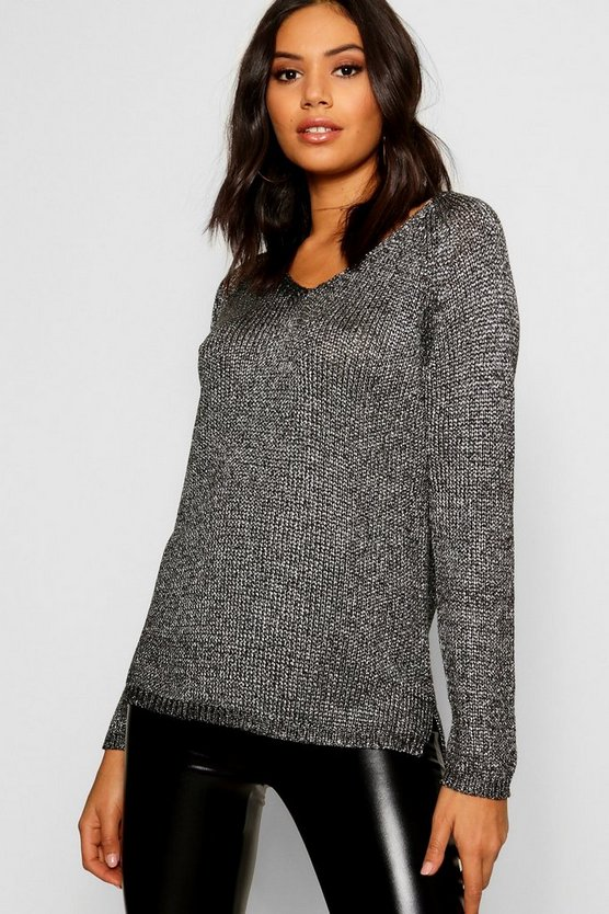 Hannah Metallic Twisted Knitted Jumper