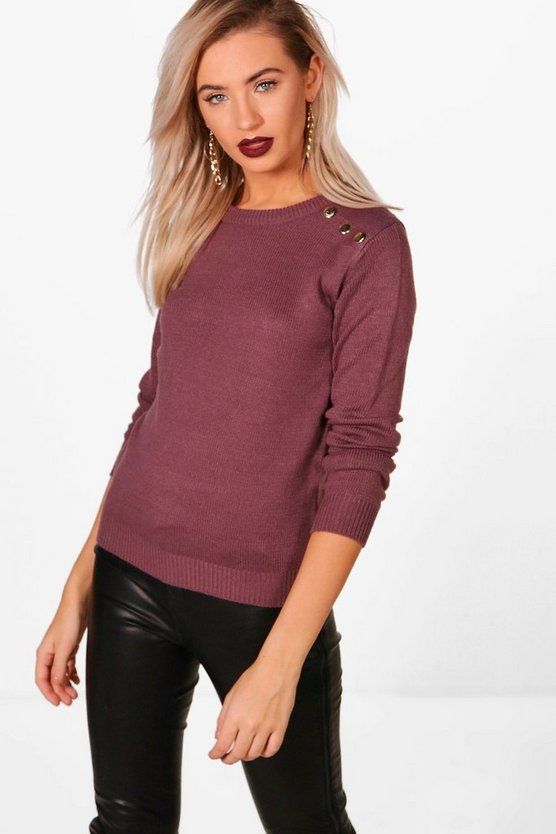 Kodie Crew Neck Ribbed Button Detail Top