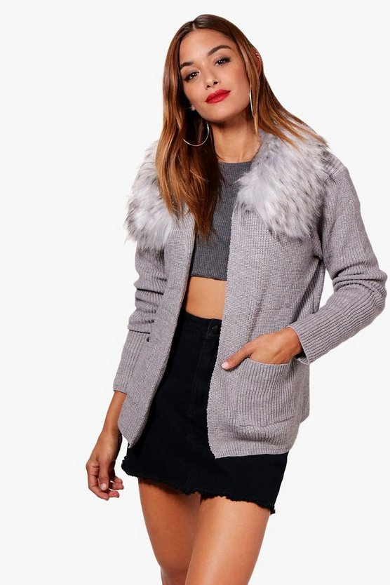 Freya Faux Fur Trim Collar Cardigan