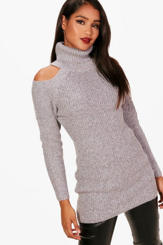 Shay Fluffy Twisted Knit Cold Shoulder Jumper