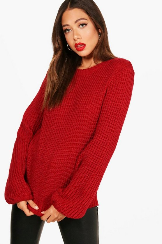 Izzie Blouson Sleeve Soft Knitted Jumper