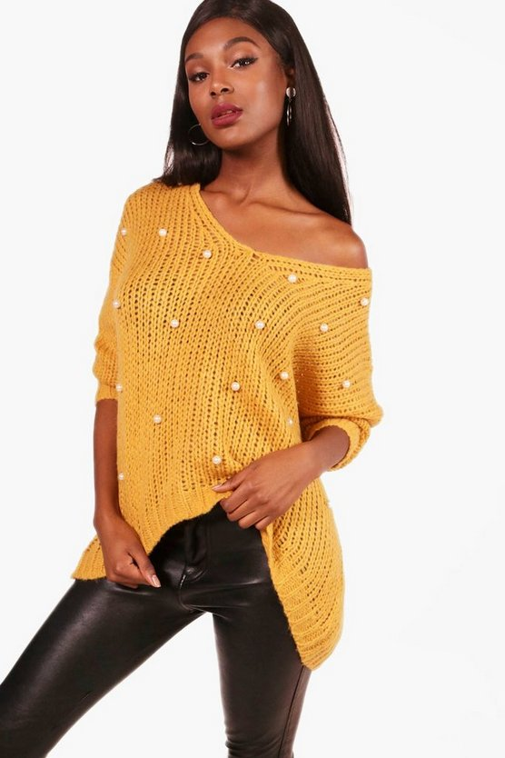 Alicia Oversized Pearl Detail V Neck Jumper