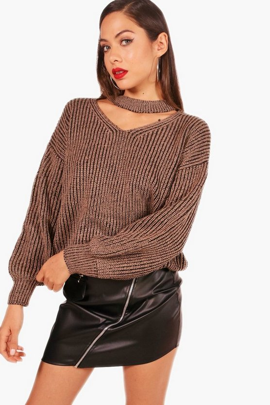 Aimee Chocker Plunge Neck Twisted Yarn Jumper
