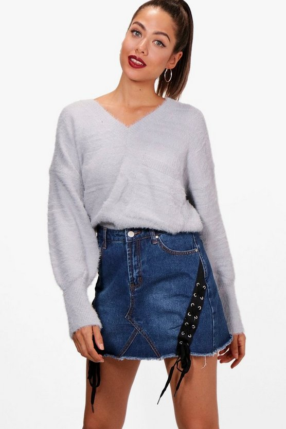 Sophie Fluffy Knitted Slouchy Jumper