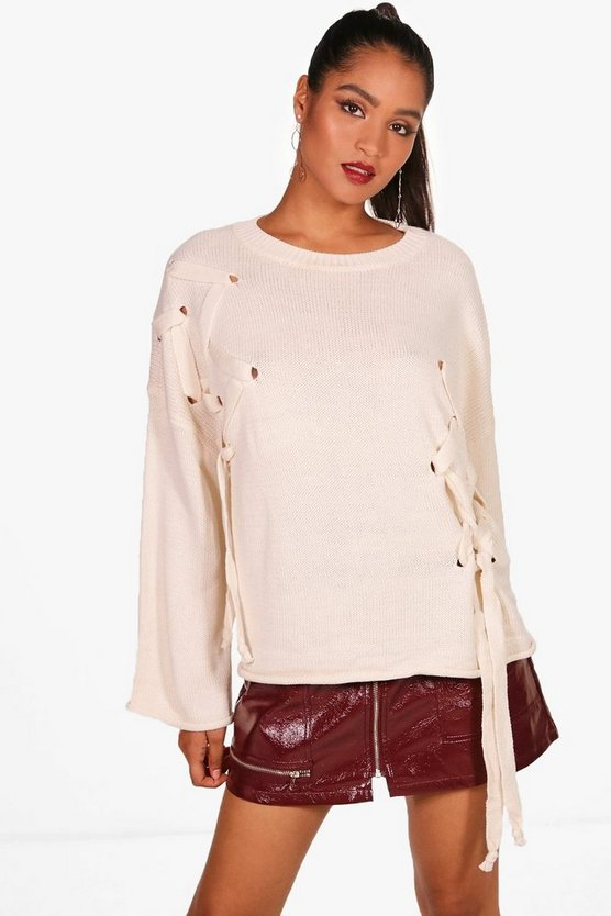 Cassie Oversized Chunky Lace Up Front Jumper