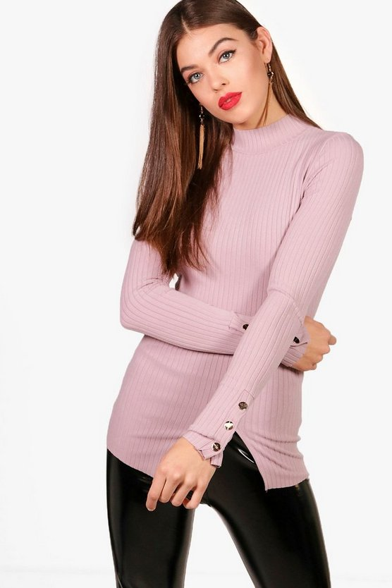 Mia Knitted Turtle Neck Button Cuff Detail Top
