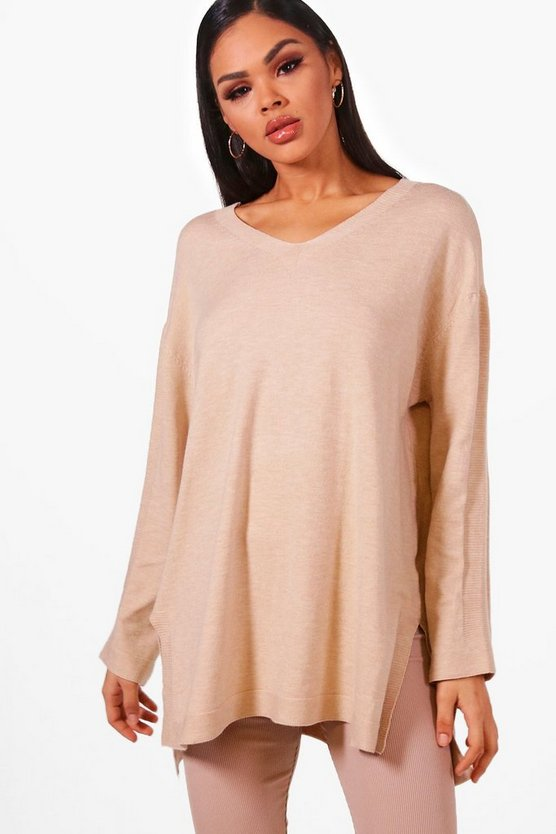 Oversized Knitted Split Side Top
