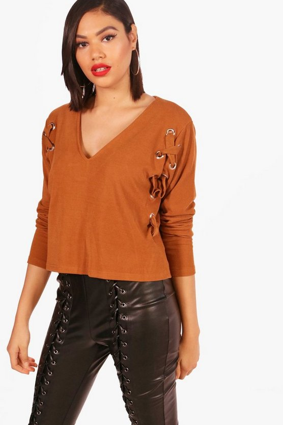 Knitted Eyelet Detail Top