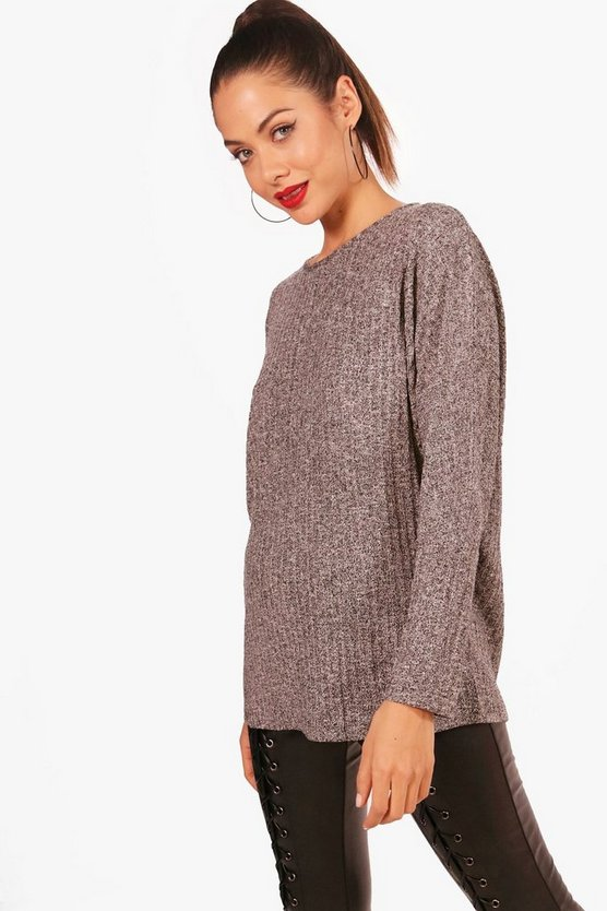 Maddison Oversized Marl Knit Rib Top