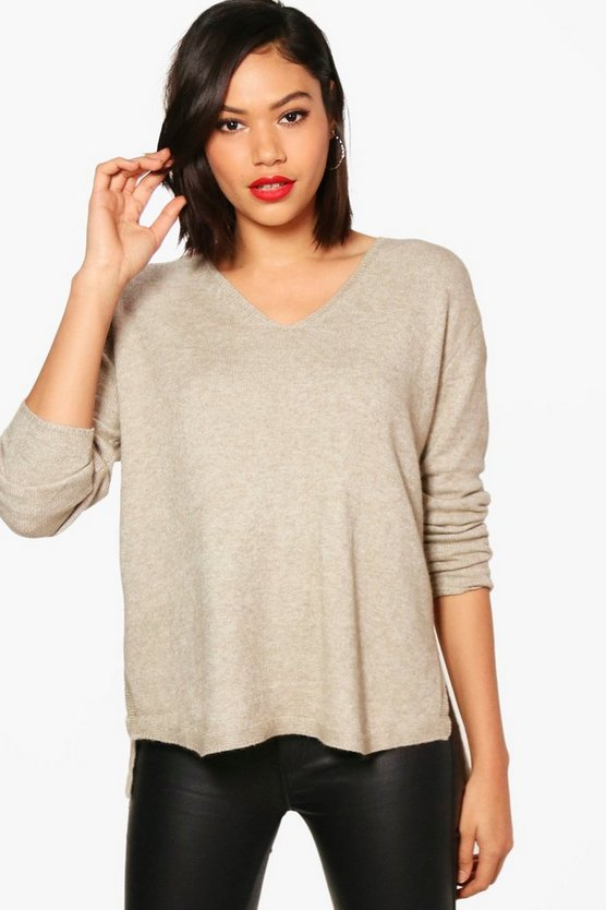 Jade Oversized V Neck Knitted Top