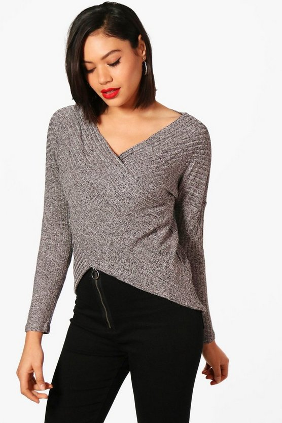 Lexi Knitted Rib Marl Wrap Front Top