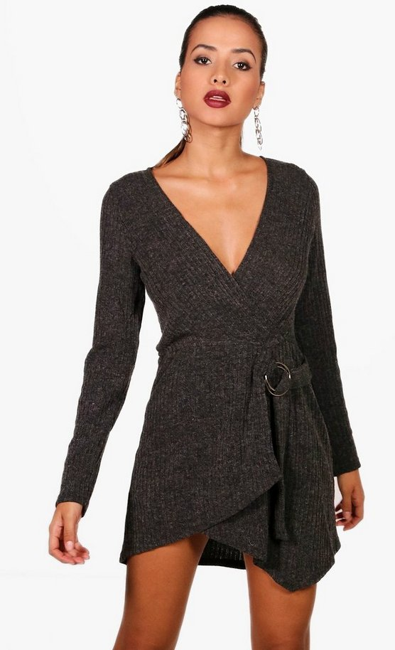 Josie Knitted O Ring Wrap Detail Dress