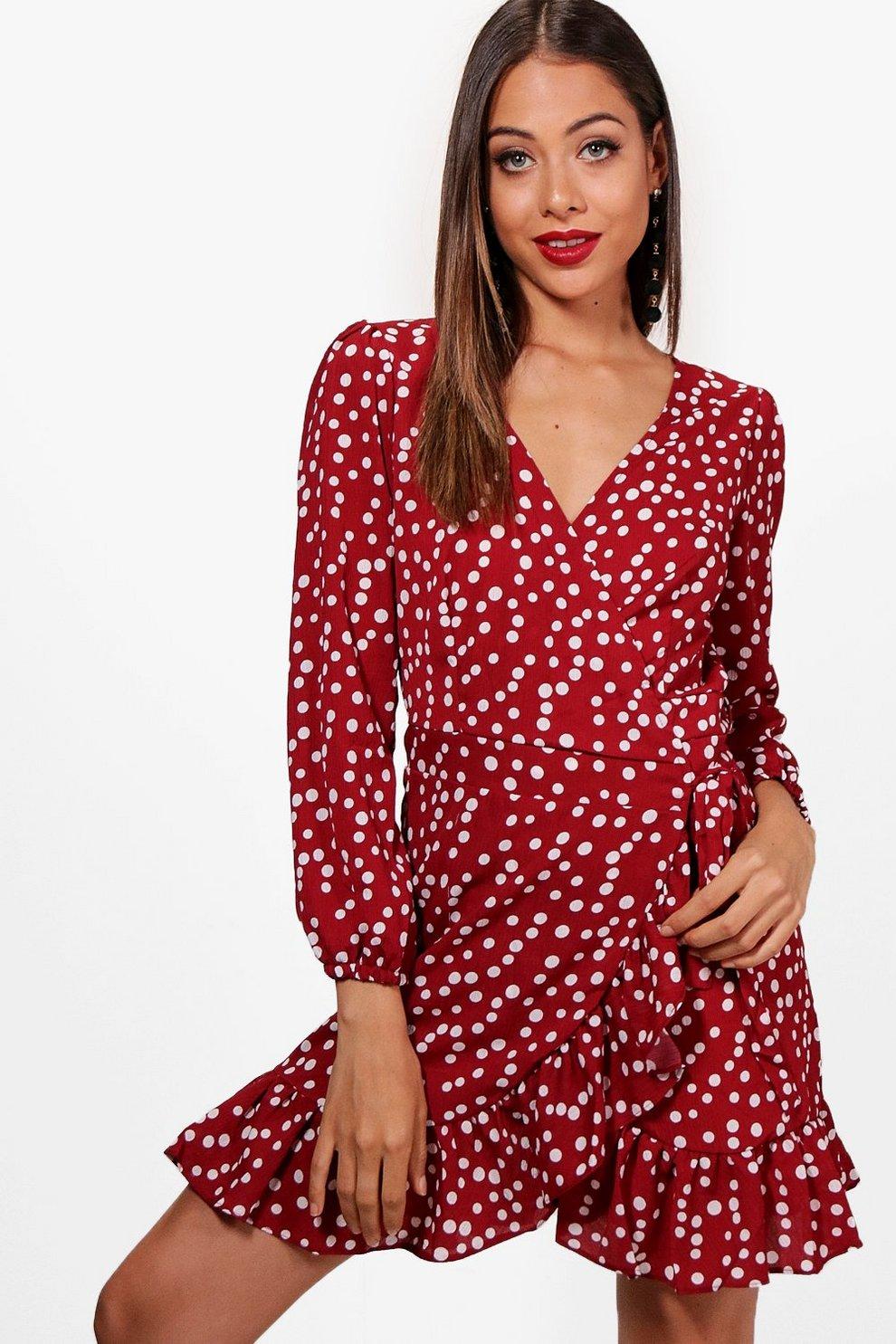 Boohoo Spot Print Ruffle Detail Wrap Tea Dress Buy Cheap Good Selling gtFNQ0