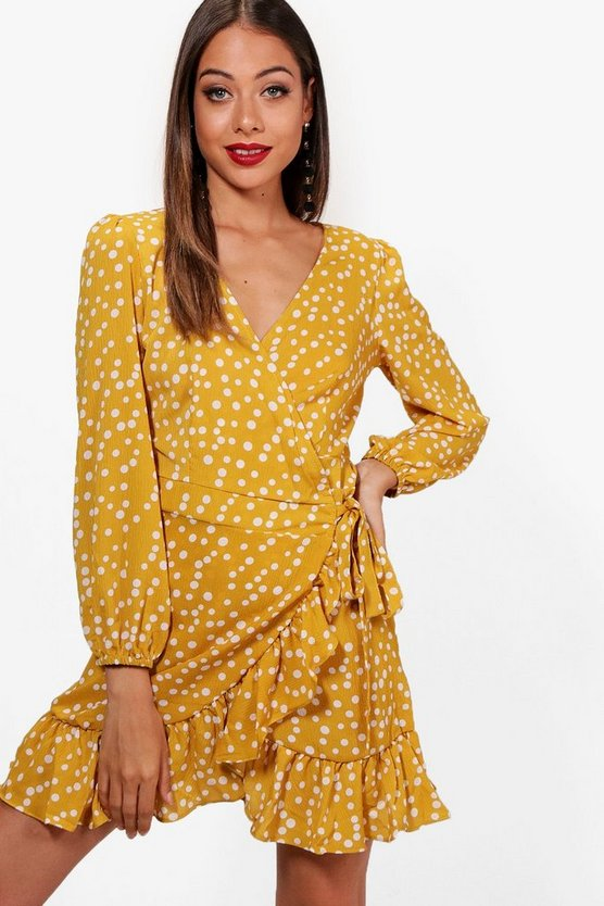 Spot Print Ruffle Detail Wrap Tea Dress