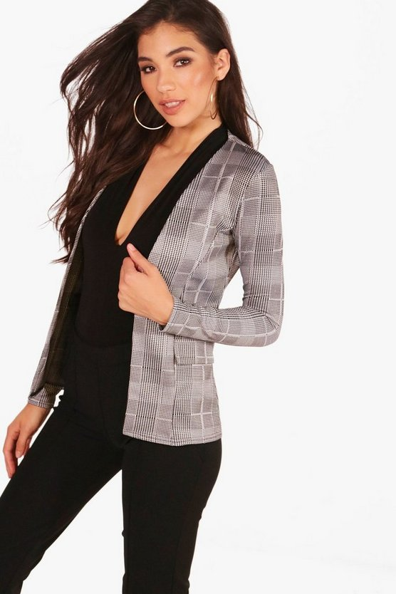 Rosie Check Collarless Blazer