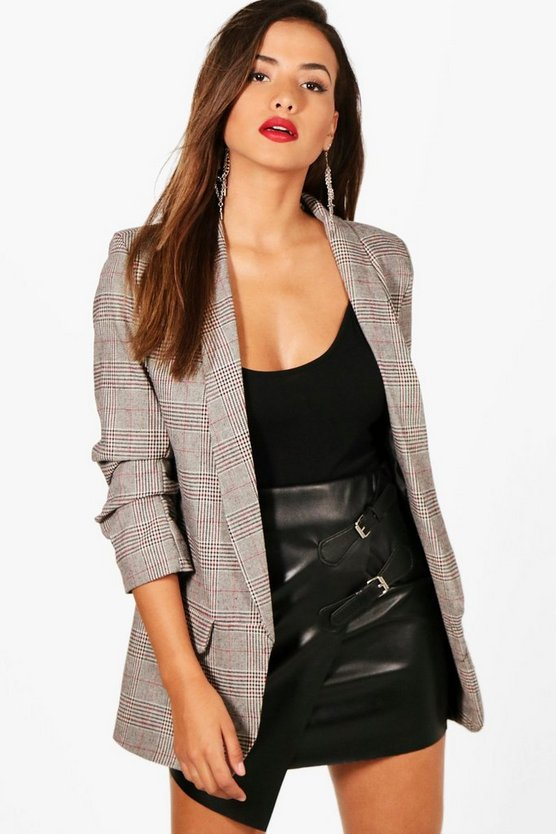 Check Ruched Sleeve Blazer
