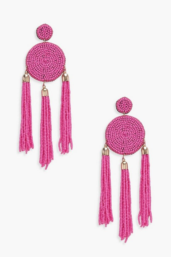 Ivy Circle Beaded Tassel Earrings