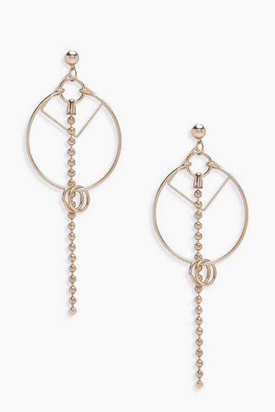 Lily Hoop And Bar Geo Earrings