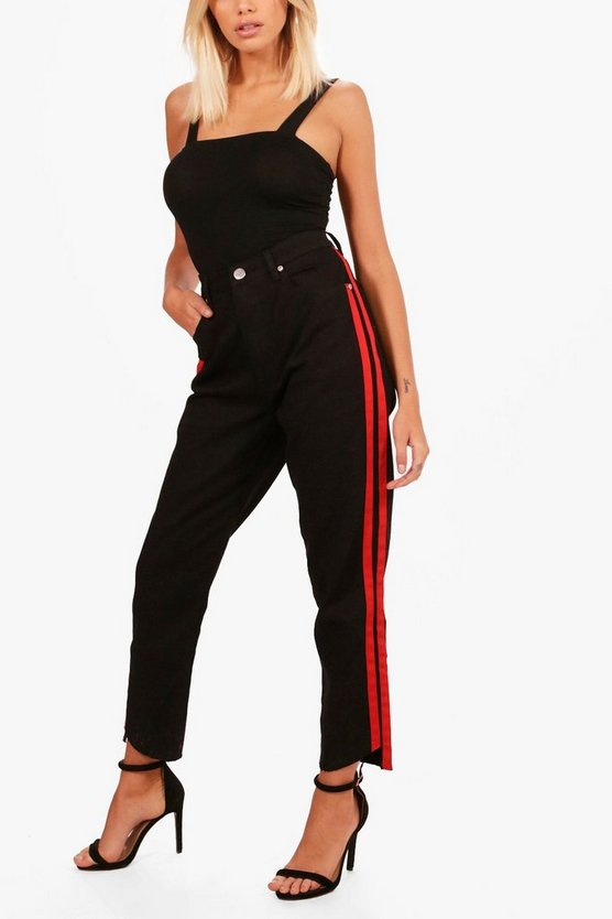 Fran Sports Stripe Mom Jeans