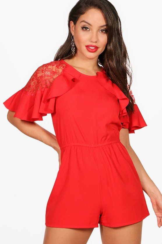 Judy Lace And Ruffle Playsuit