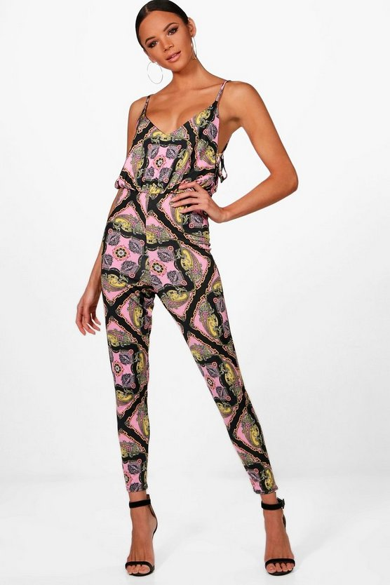 Matilda Tie Side Chain Print Wide Leg Jumpsuit