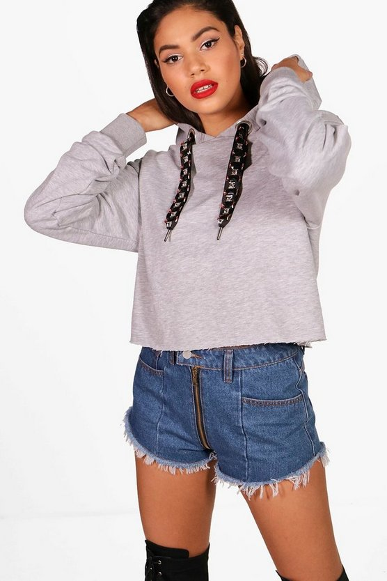 Embellished Drawcord Crop Hoody