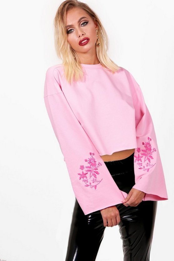 Freya Wide Sleeve Embroidered Crop Sweat