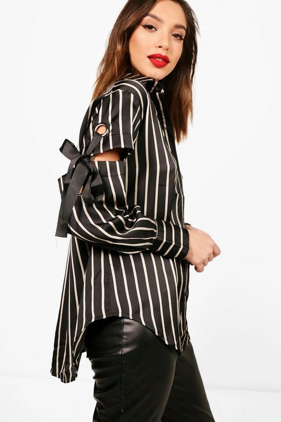 Zoe Stripe Eyelet Detail Shirt