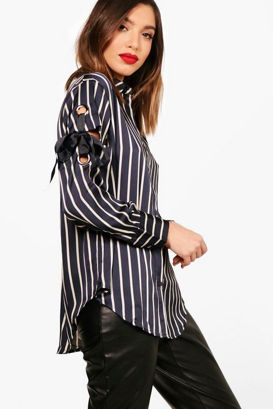 Stripe Eyelet Detail Shirt