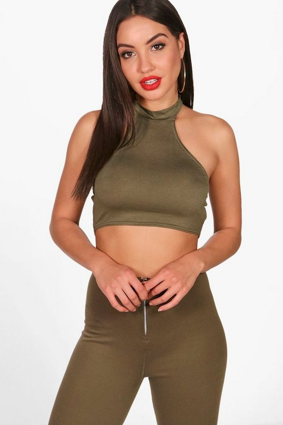 Basic High Neck Scoop Back Crop